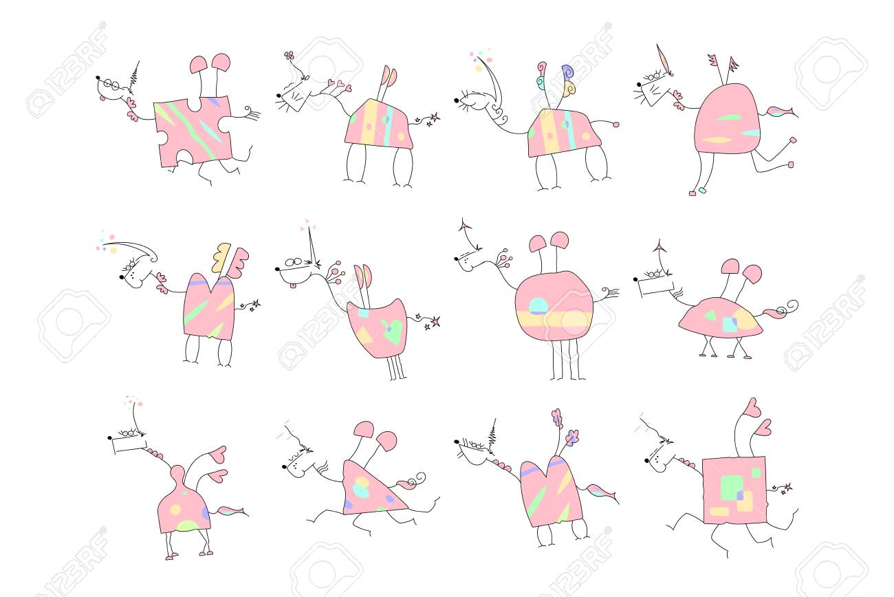 Herd Of Pink Unicorns With Wings And Horn Doodle Vector