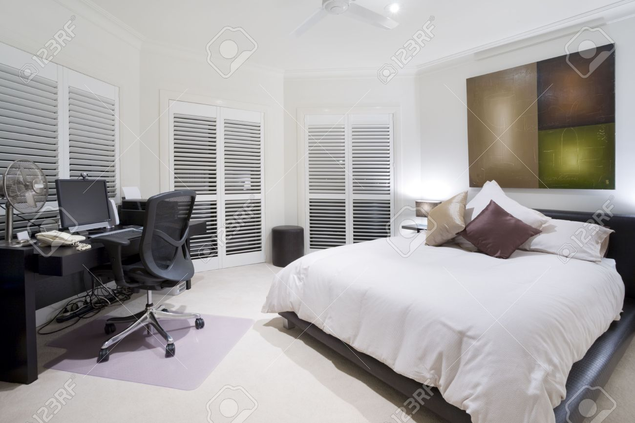 Office Spare Bedroom Office And Spare Bedroom In Luxury Mansion Stock Photo Picture
