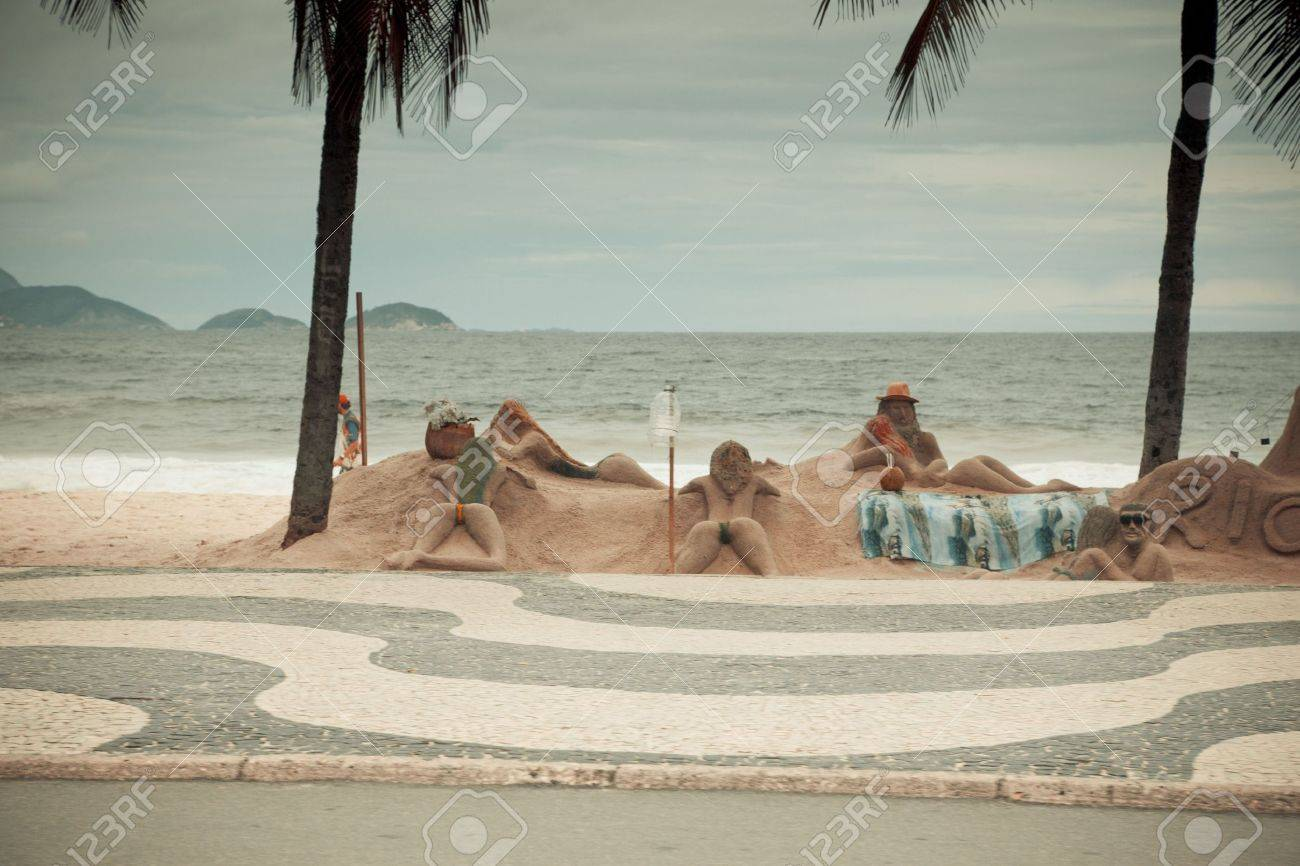 artists making sand sculptures on Copacabana beach Stock Photo - 6151987