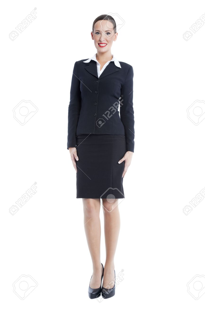businesswoman in corporate attire isolated on a white background