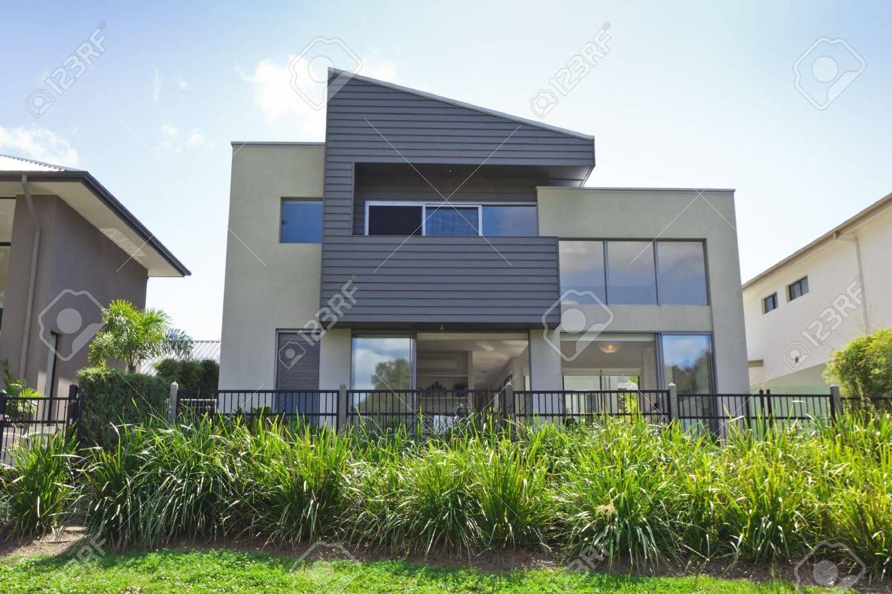 Modern two storey australian house front stock photo 14018629
