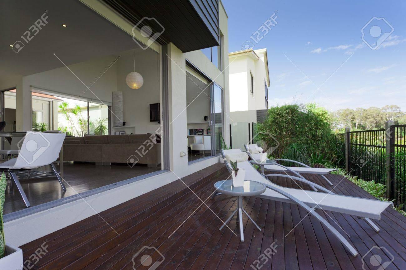 wooden outdoor deck in modern Australian mansion Stock Photo - 14018625