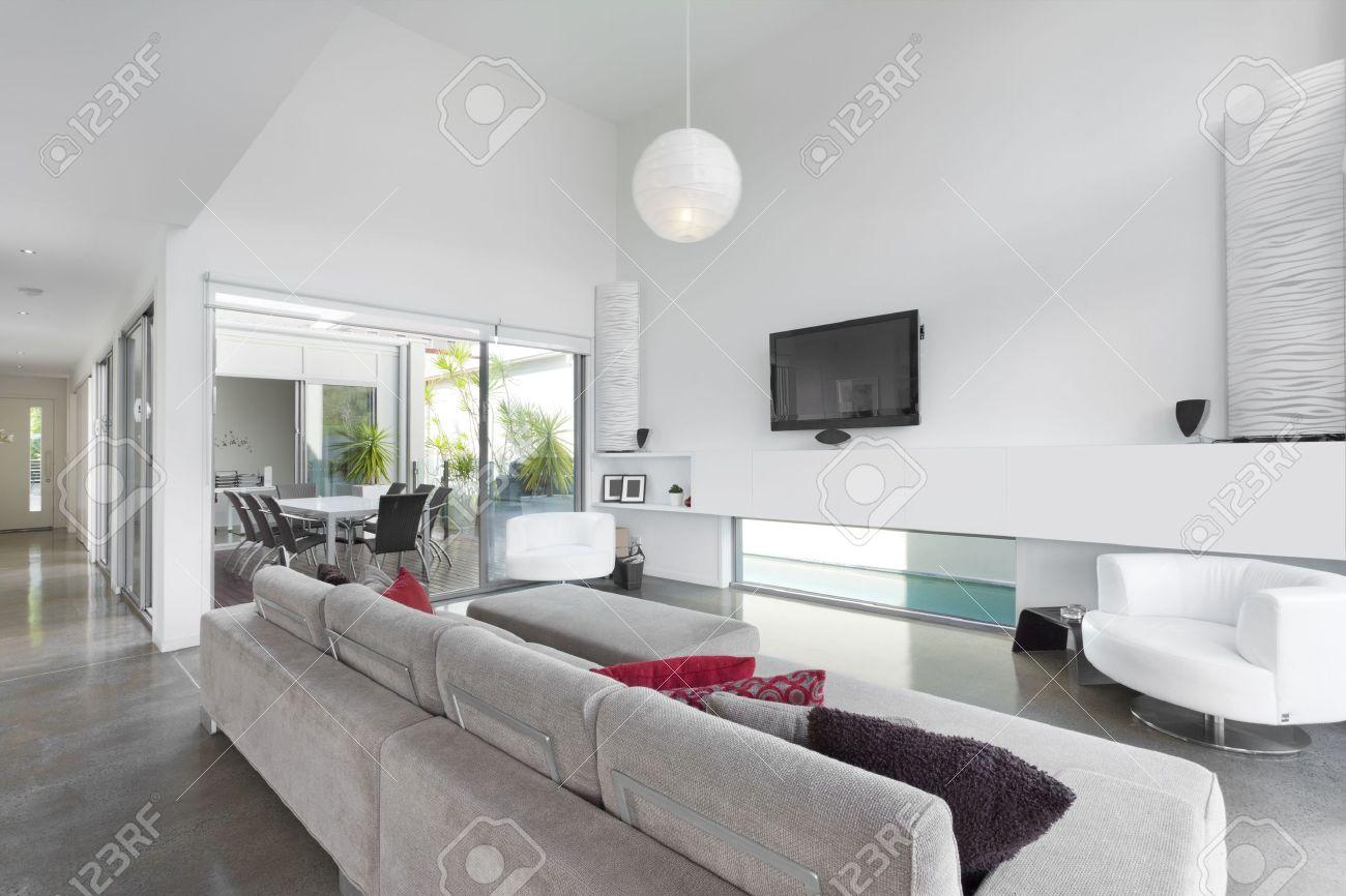 Modern Living Room Tv In Australian Mansion