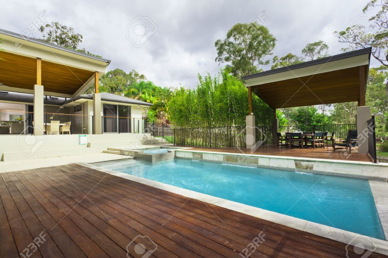 modern backyard with entertaining area and pool in stylish