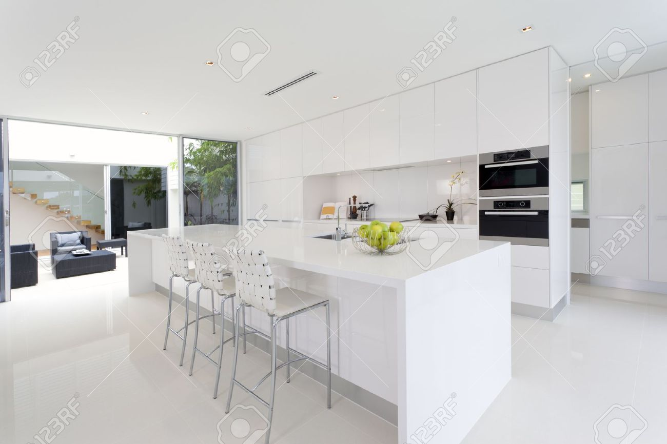 Luxurious kitchen with stainless steel appliances in australian mansion stock photo 15616588