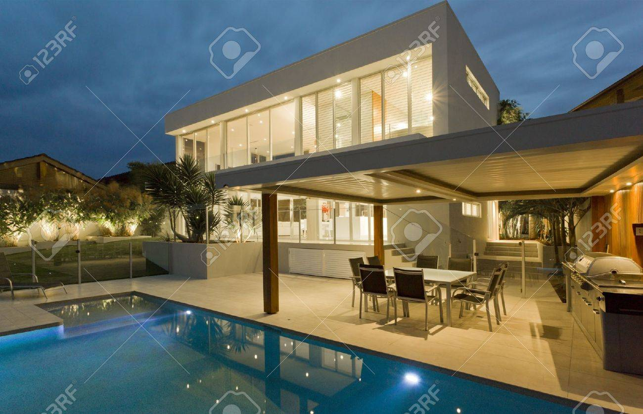 modern backyard with swimming pool in australian mansion stock photo 15616663