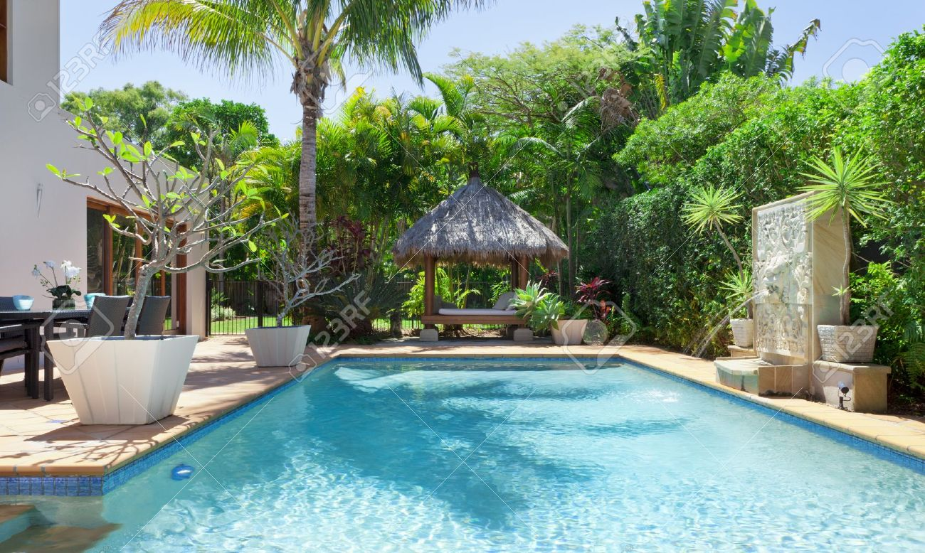Luxury swimming pool and entertaining area in Australian mansion - 15616697