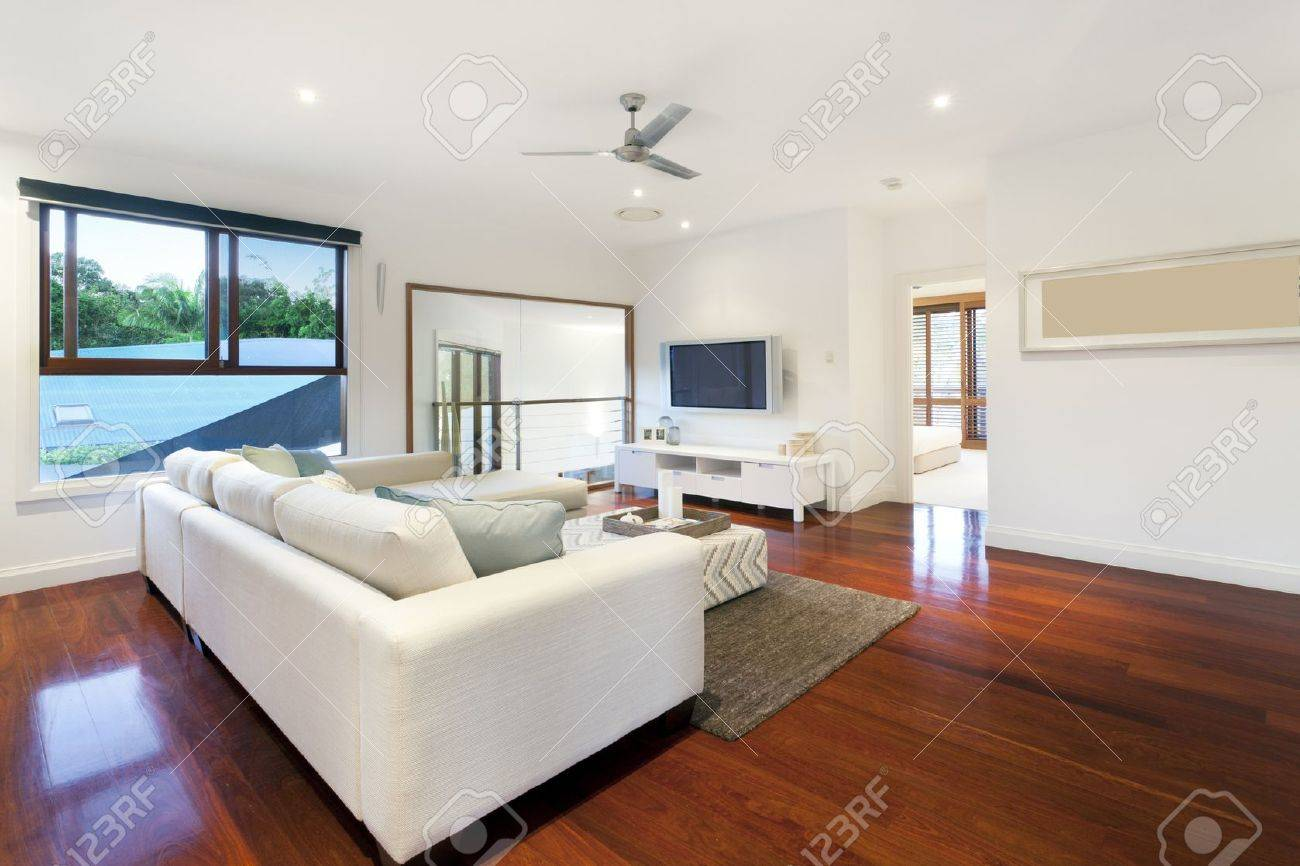 Modern Living Room In Stylish Mansion Stock Photo