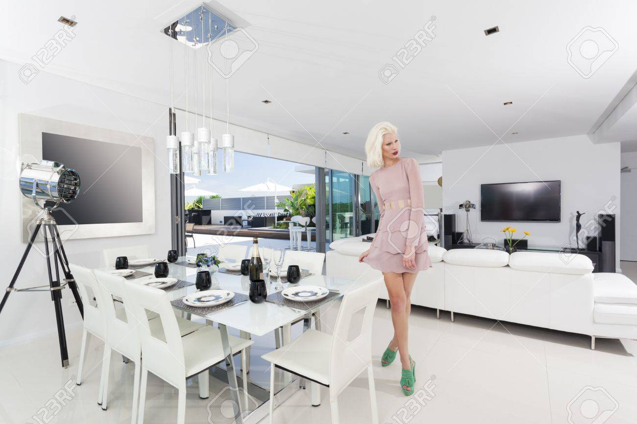 Attractive woman in luxury apartment Stock Photo - 18936979