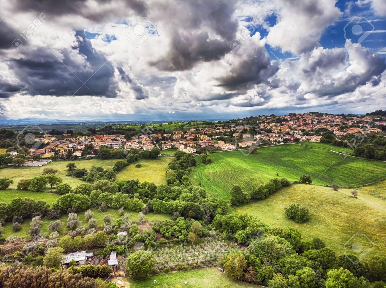 Showroom It Rignano Flaminio awe aerial view from green hills of rignano flaminio village..