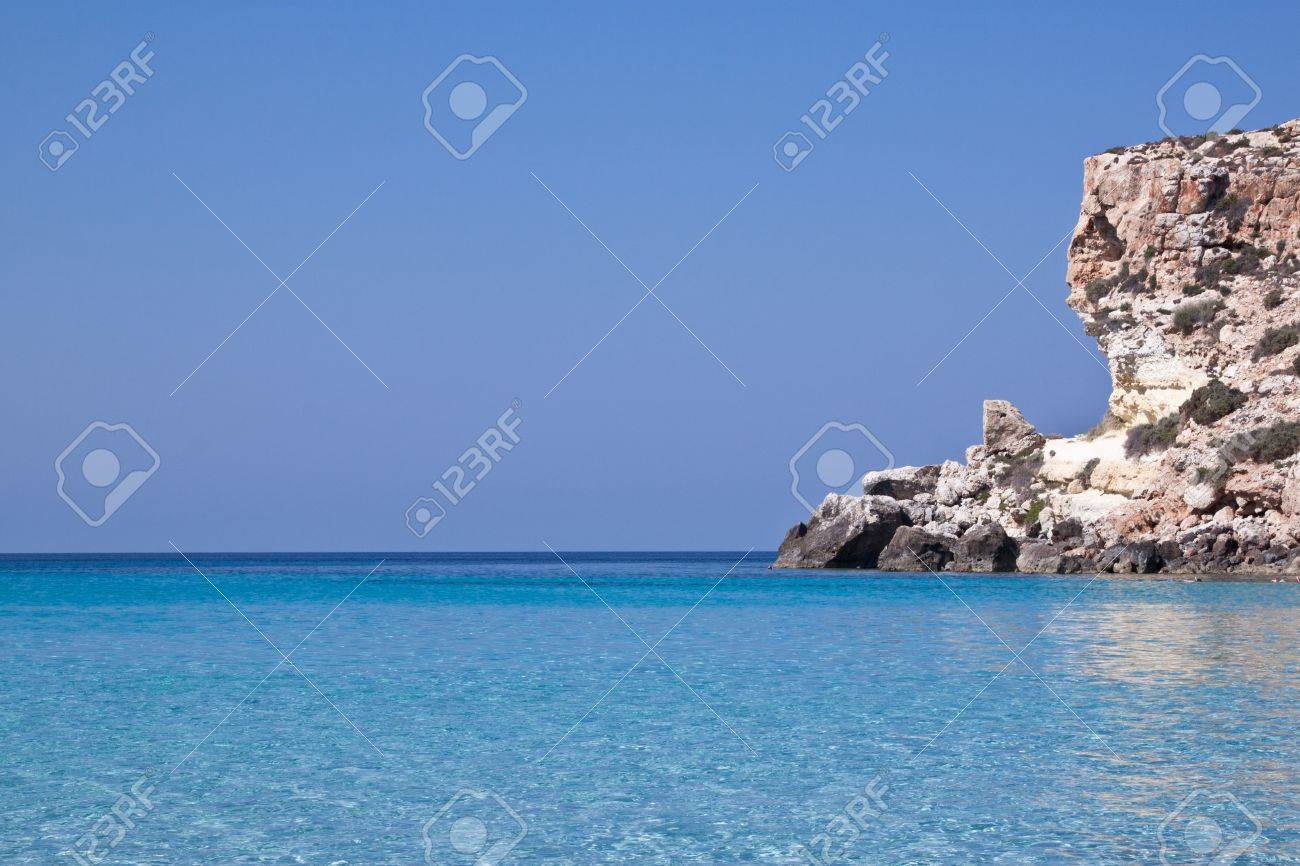 Beautiful Blue Sea Of Lampedusa Sicily Italy Stock Photo Picture