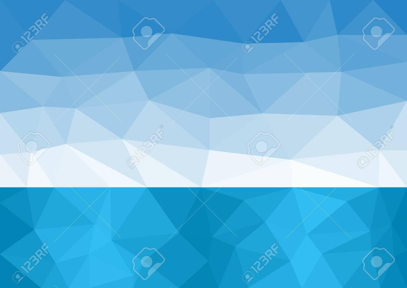 Sea horizon and blue sky low poly - 37408310