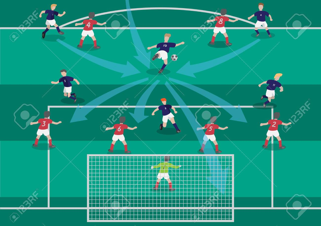 The soccer football playmaker center of the team flat graphic - 38999417