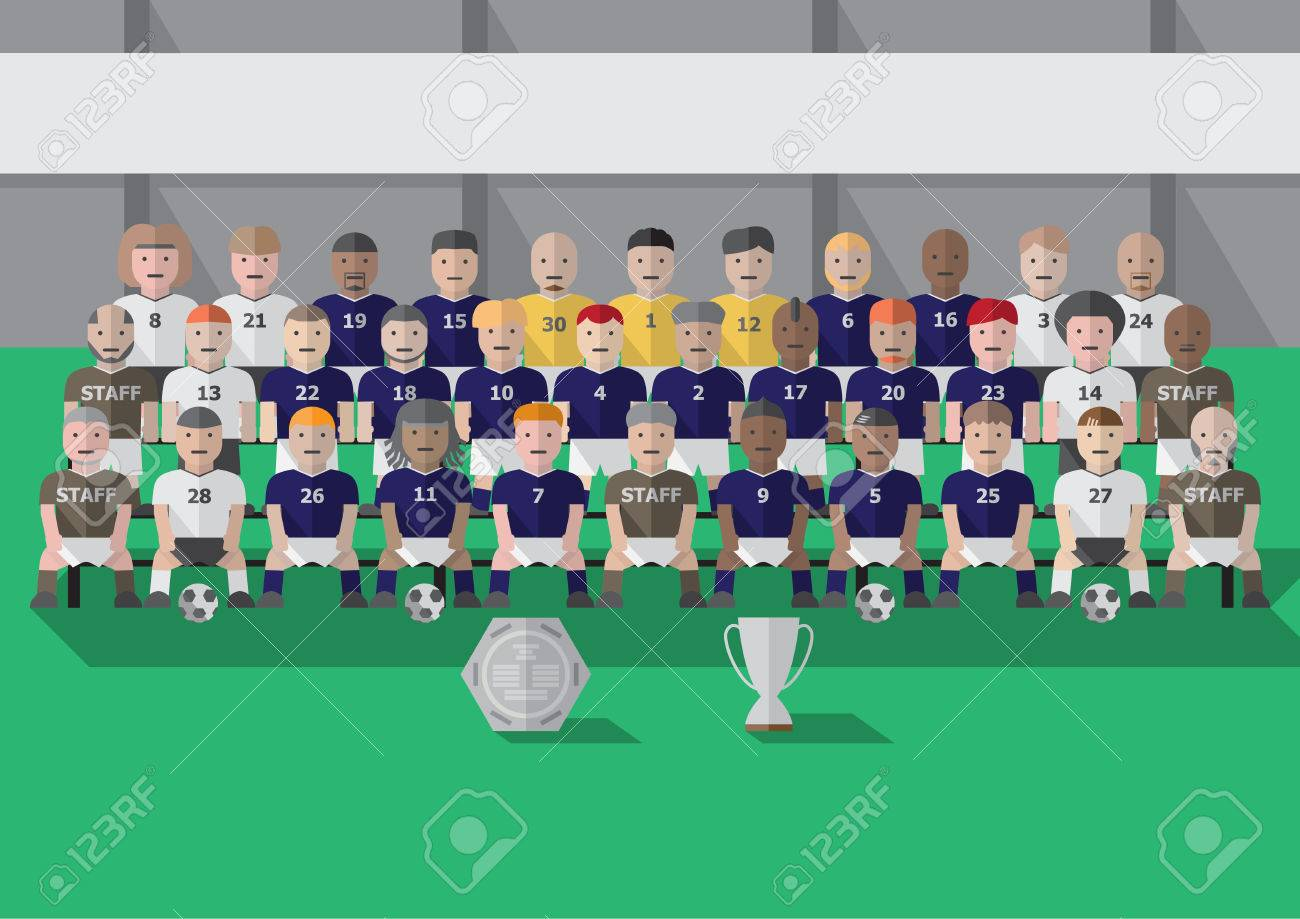 Vector soccer club team season picture with trophy flat graphic - 39277440