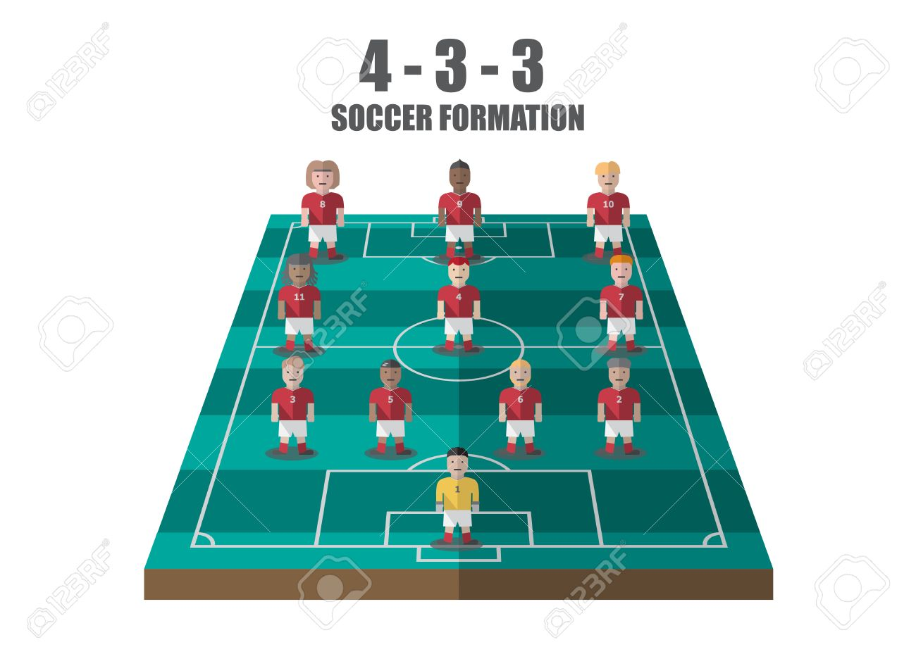 Vector soccer strategy 433 tactic flat graphic - 39390330