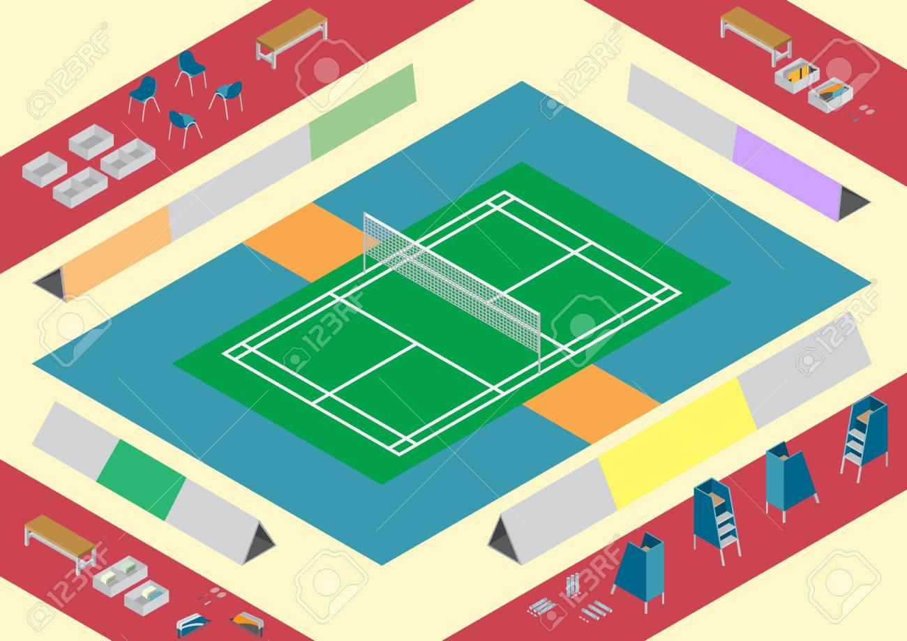 Vector badminton court objects isometric - 39565551