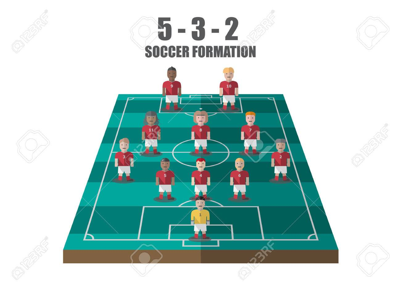 Vector soccer strategy 532 tactic flat graphic - 39633984