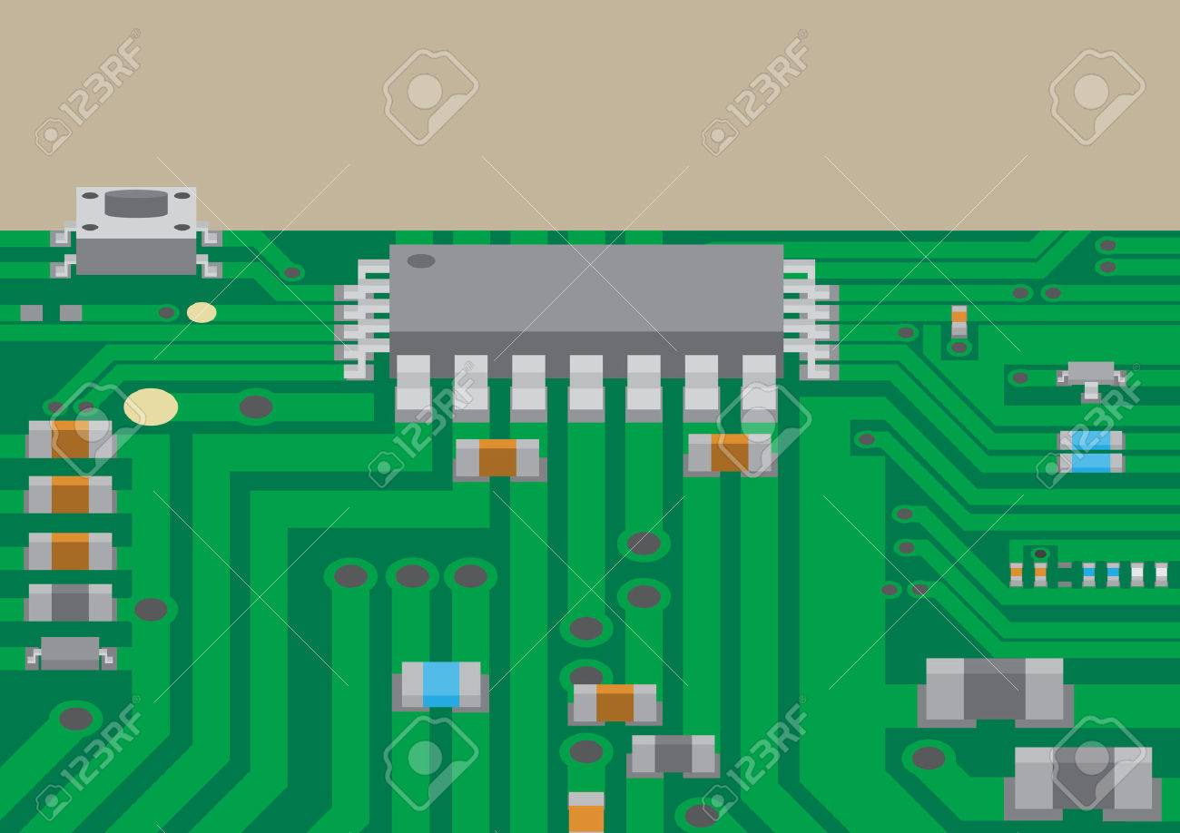 Vector surface mount technology printed circuit board flat graphic - 39633976