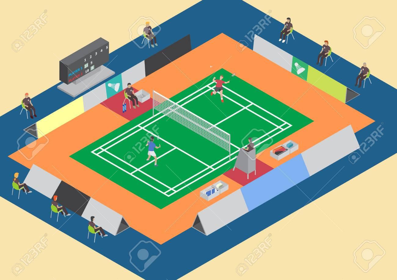 Badminton competition single match flat isometric - 40618504