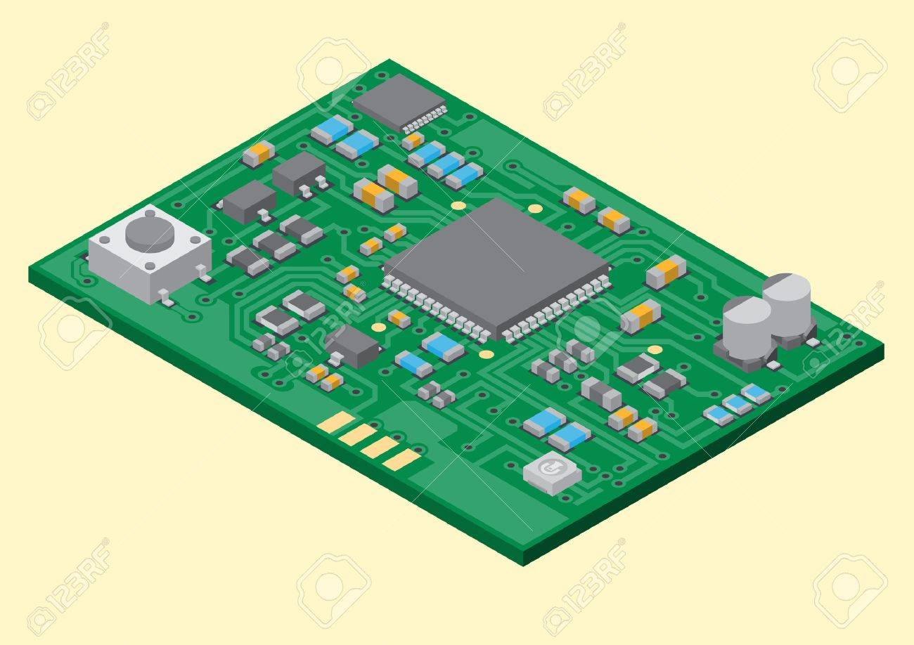 Vector Surface Mount Technology Printed Circuit Board Isometric Programming Pcb Assembly Services Electronic