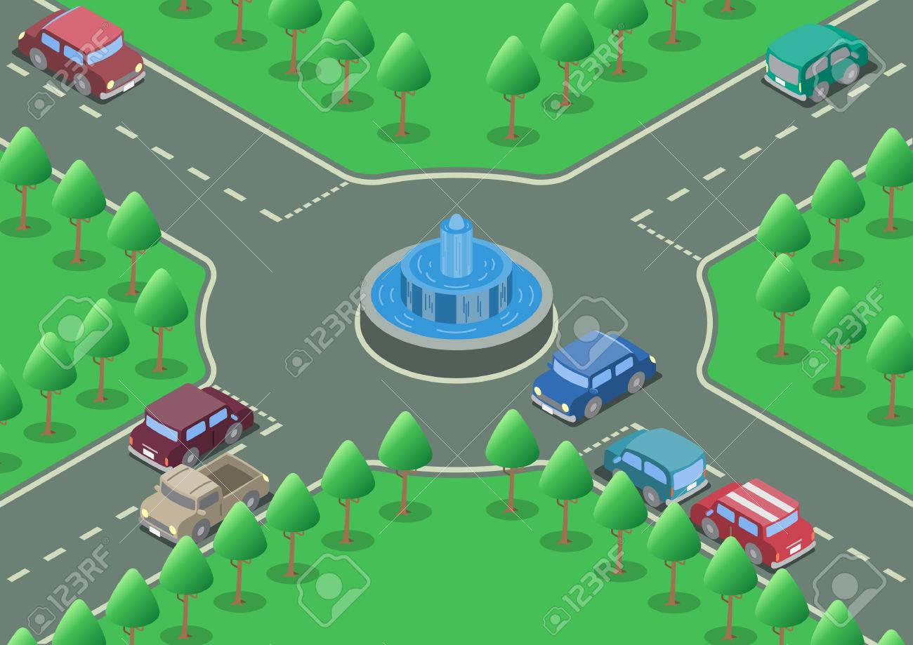Vector isometric roundabout fountain road cars - 41034561