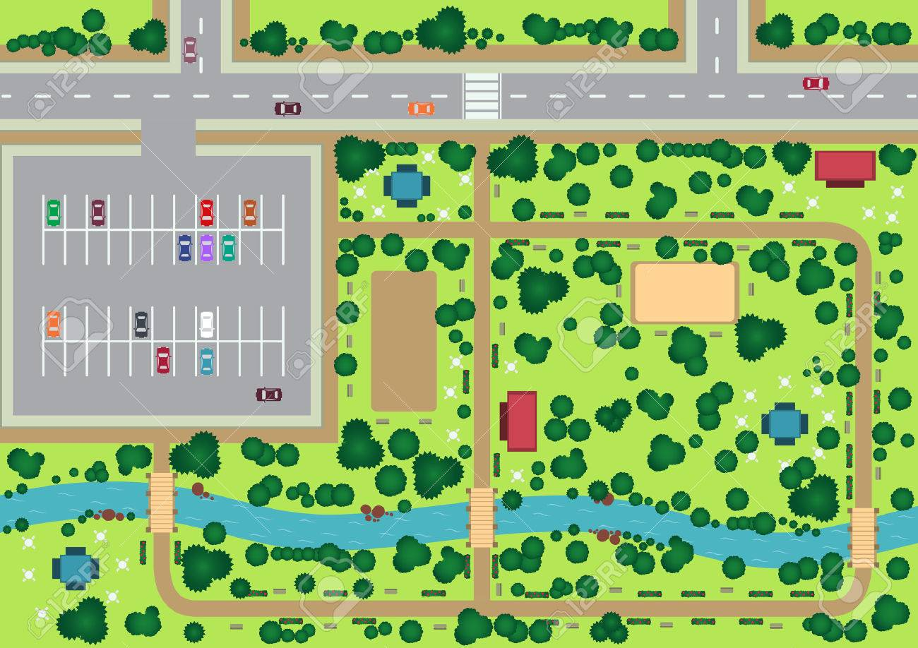Vector park view from top flat graphic - 41848261