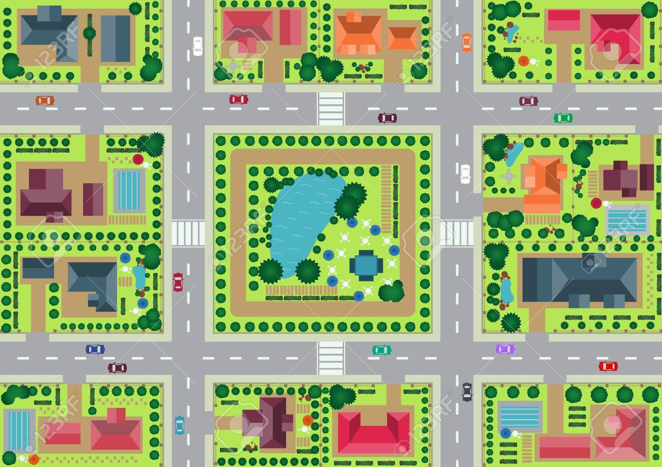Vector village and park view from top flat graphic - 42151858