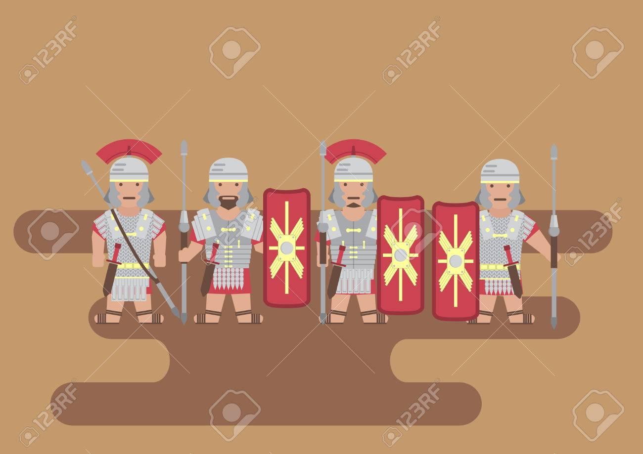 Vector Roman legion soldier flat graphic - 42929977