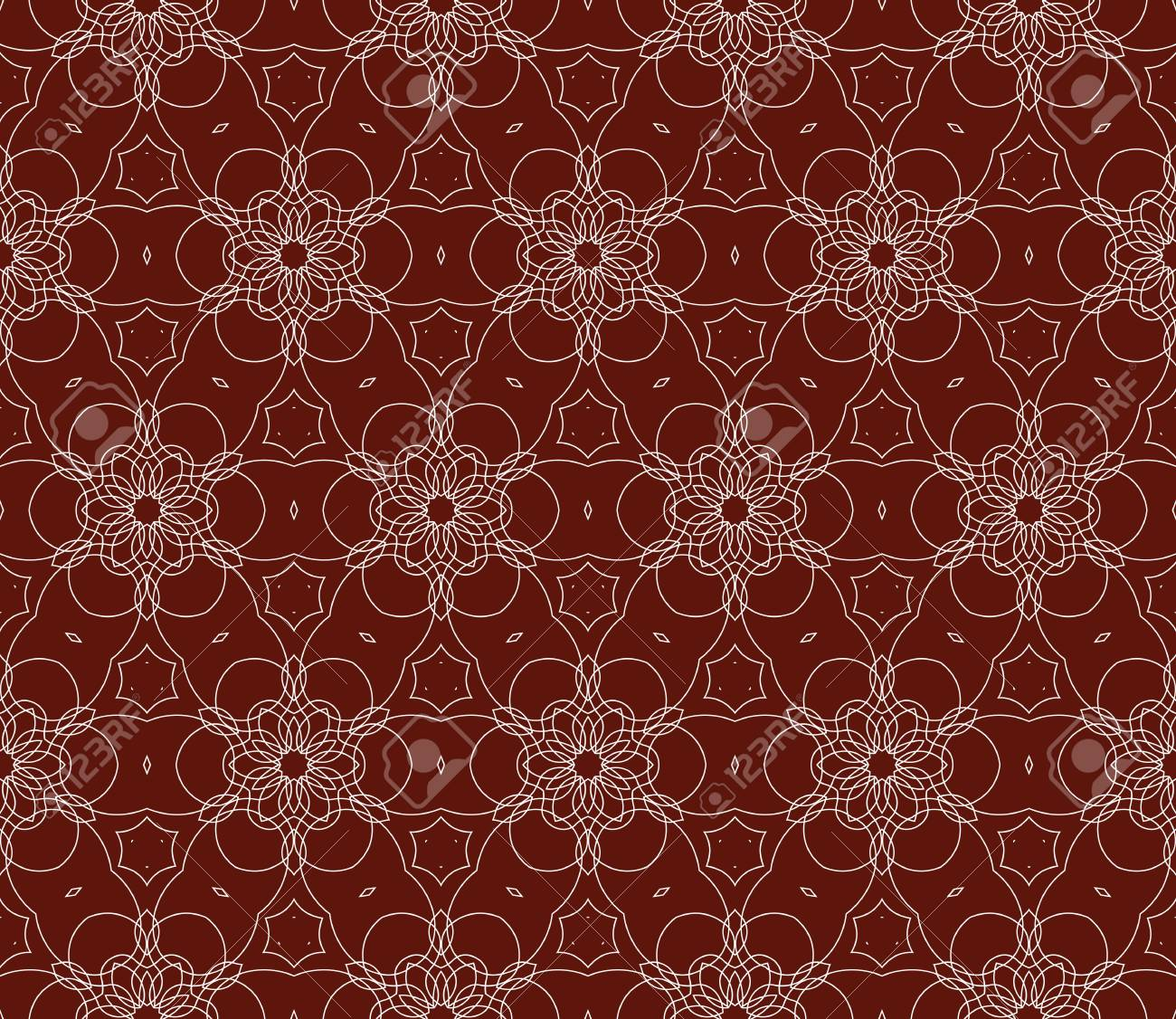 Seamless Dark Red And Silver Color Floral Pattern Illustration