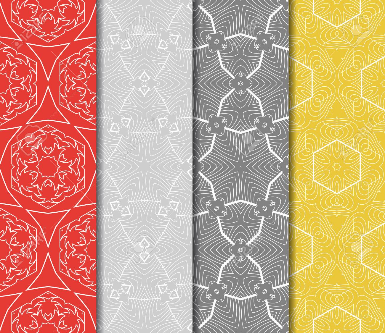 Set Of Seamless Floral Pattern With Hand Drawn Texture Ornament