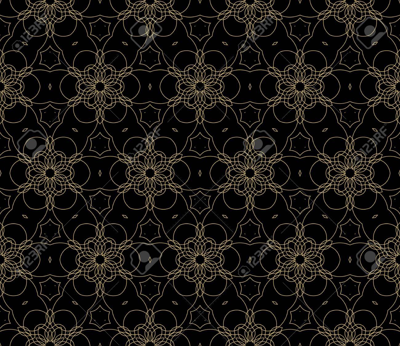 Seamless Black Gold Floral Pattern Vector Illustration Purple
