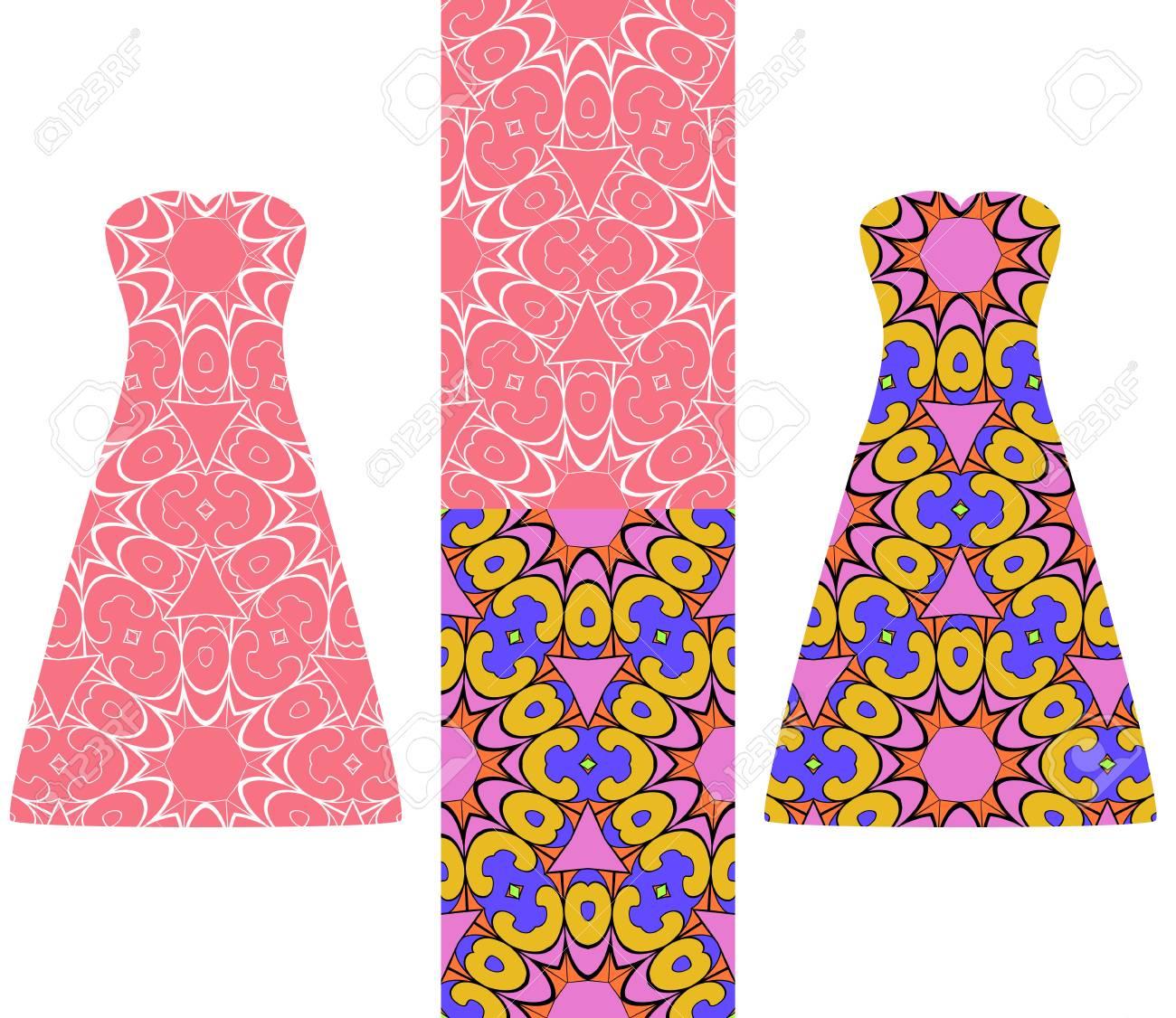Conjunto De Dos Tipos De Patrones Geométricos Sin Costura, Y Dos ...
