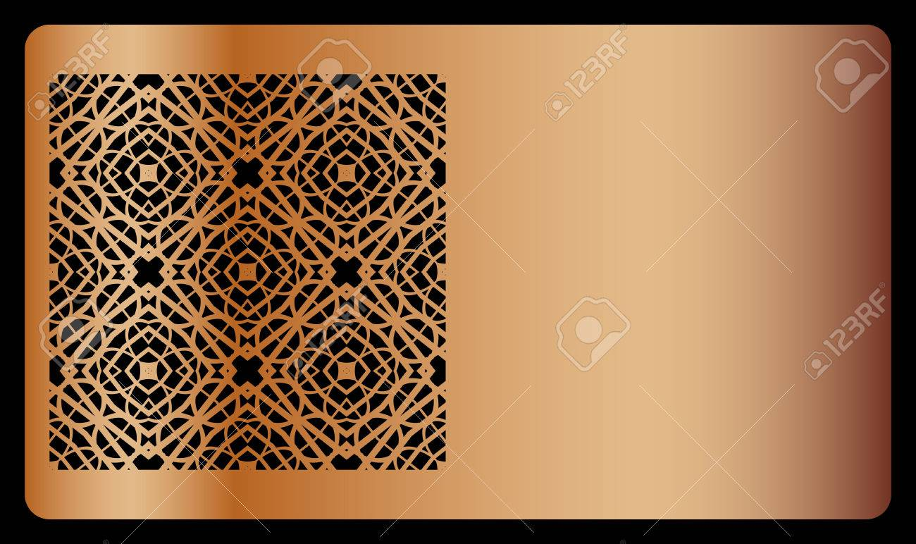 Template business card with geometrical ornament for laser cut template business card with geometrical ornament for laser cut out vector illustration copper color reheart Image collections