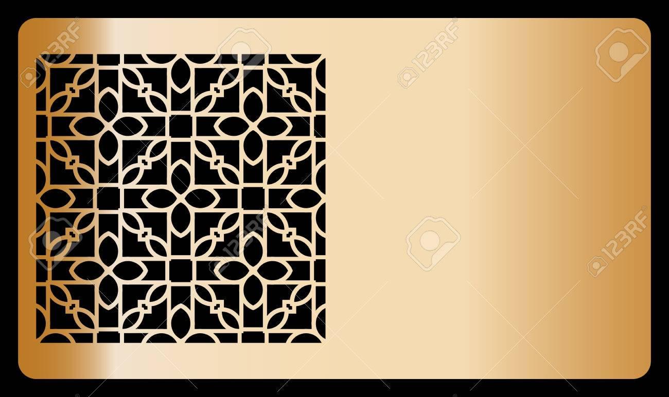 template laser cutting for Business card. bronze design. Decorative geometric ornament. Vector illustration. - 79803245