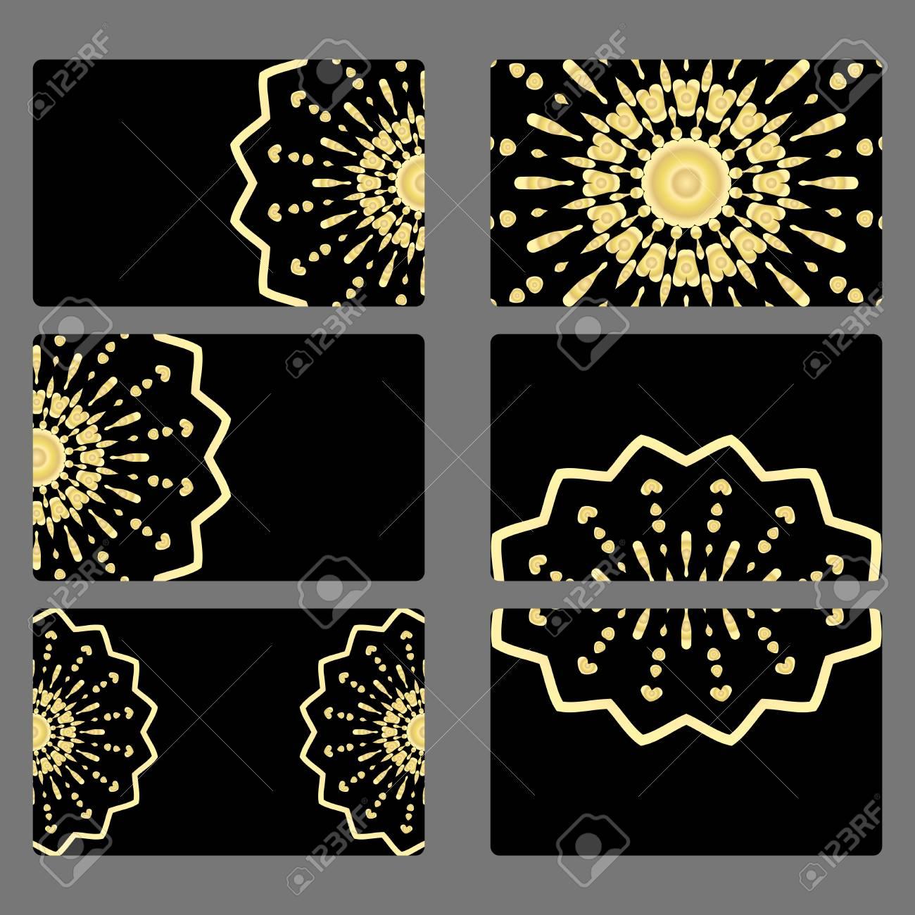Set Business Card Vector Mandala Decor Arabic Indian Ottoman