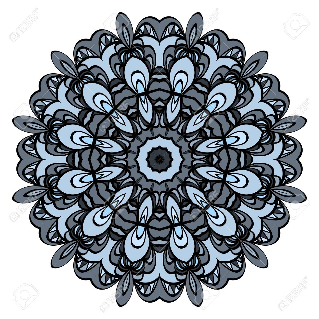 Round floral pattern  Decorative coloring Mandala  Design element