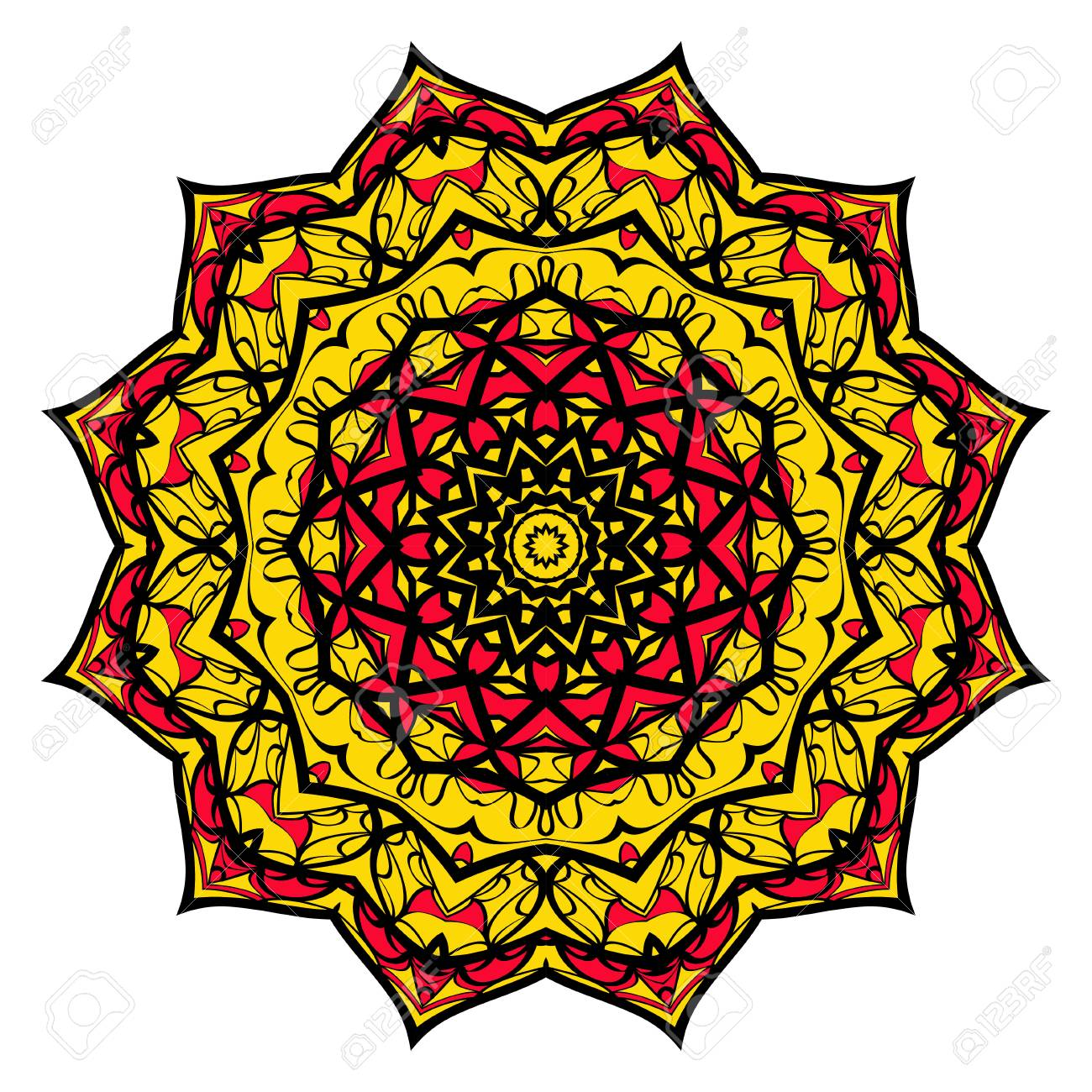 Yellow, Red, Black Color Flower Mandala Round Ornament Design ...