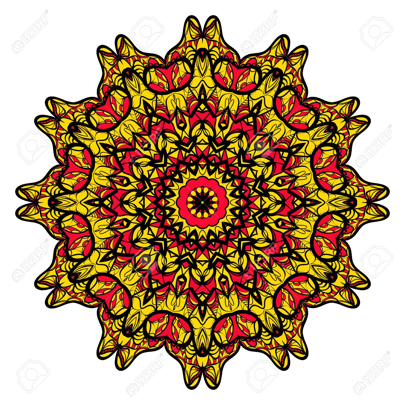 A Yellow Red Black Color Flower Mandala Round Ornament Design Vector Illustration Stock