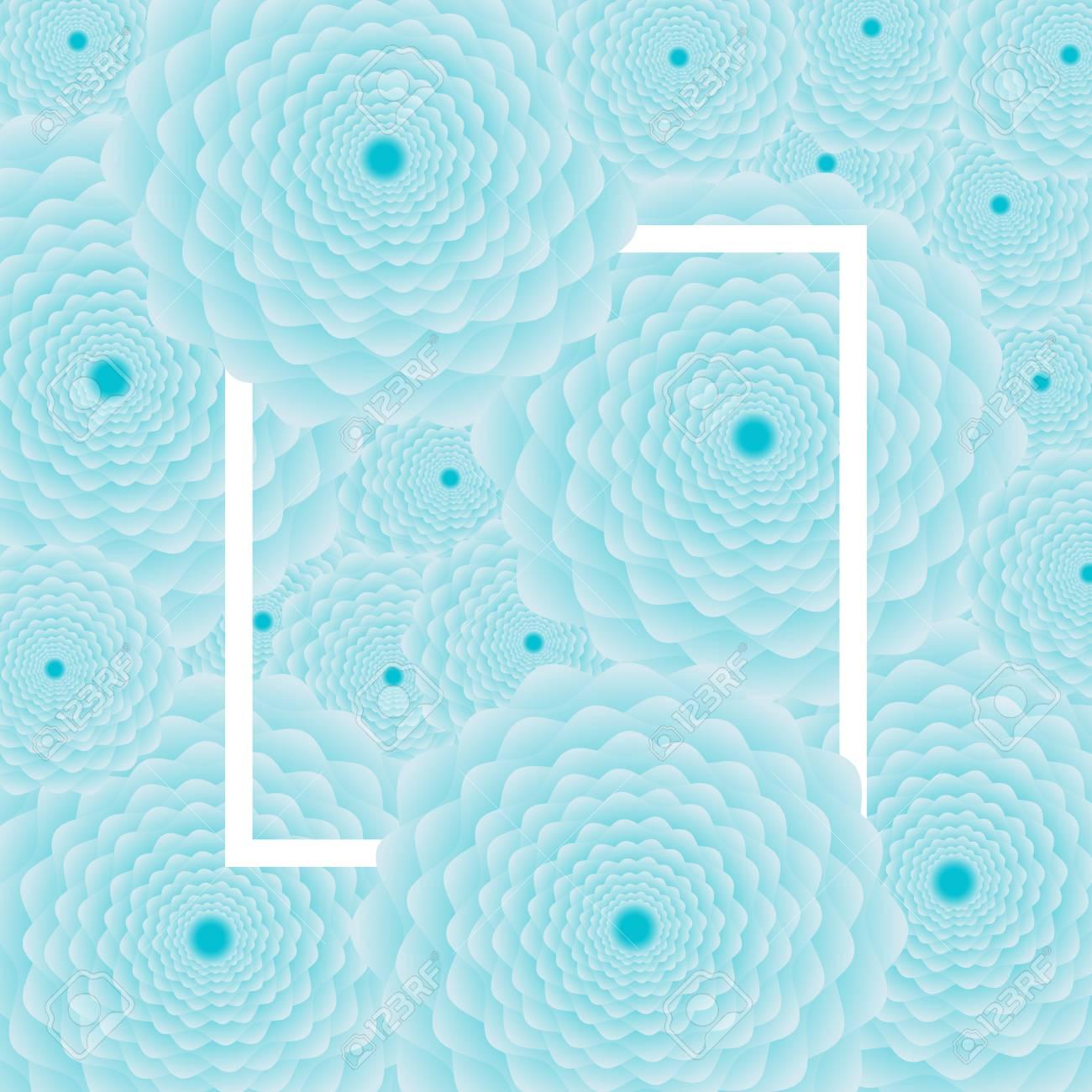 Light Blue Flower Background White Frame Vector Illustration