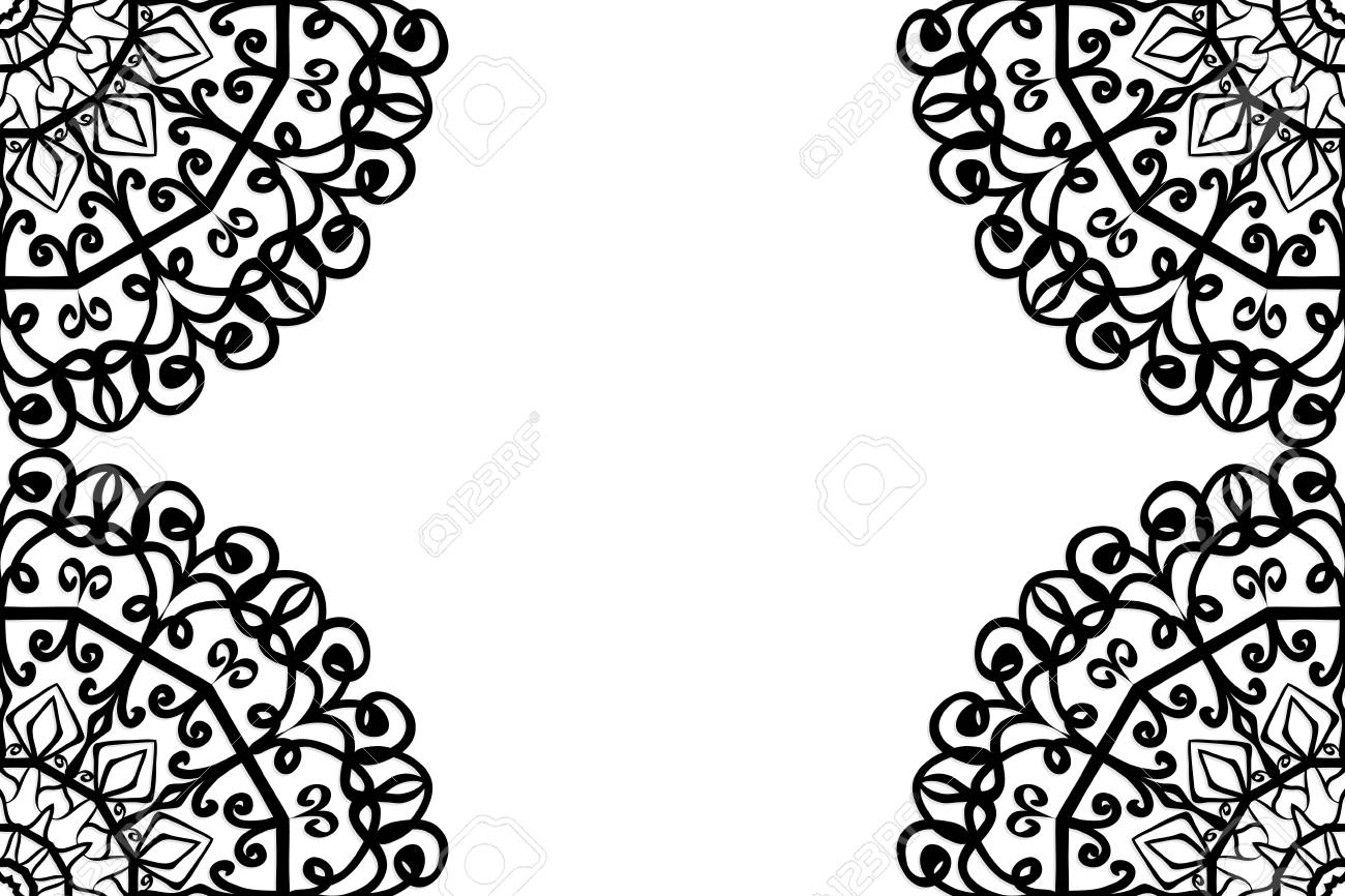 Creative Invitation Card With Mandala Elements Border Black