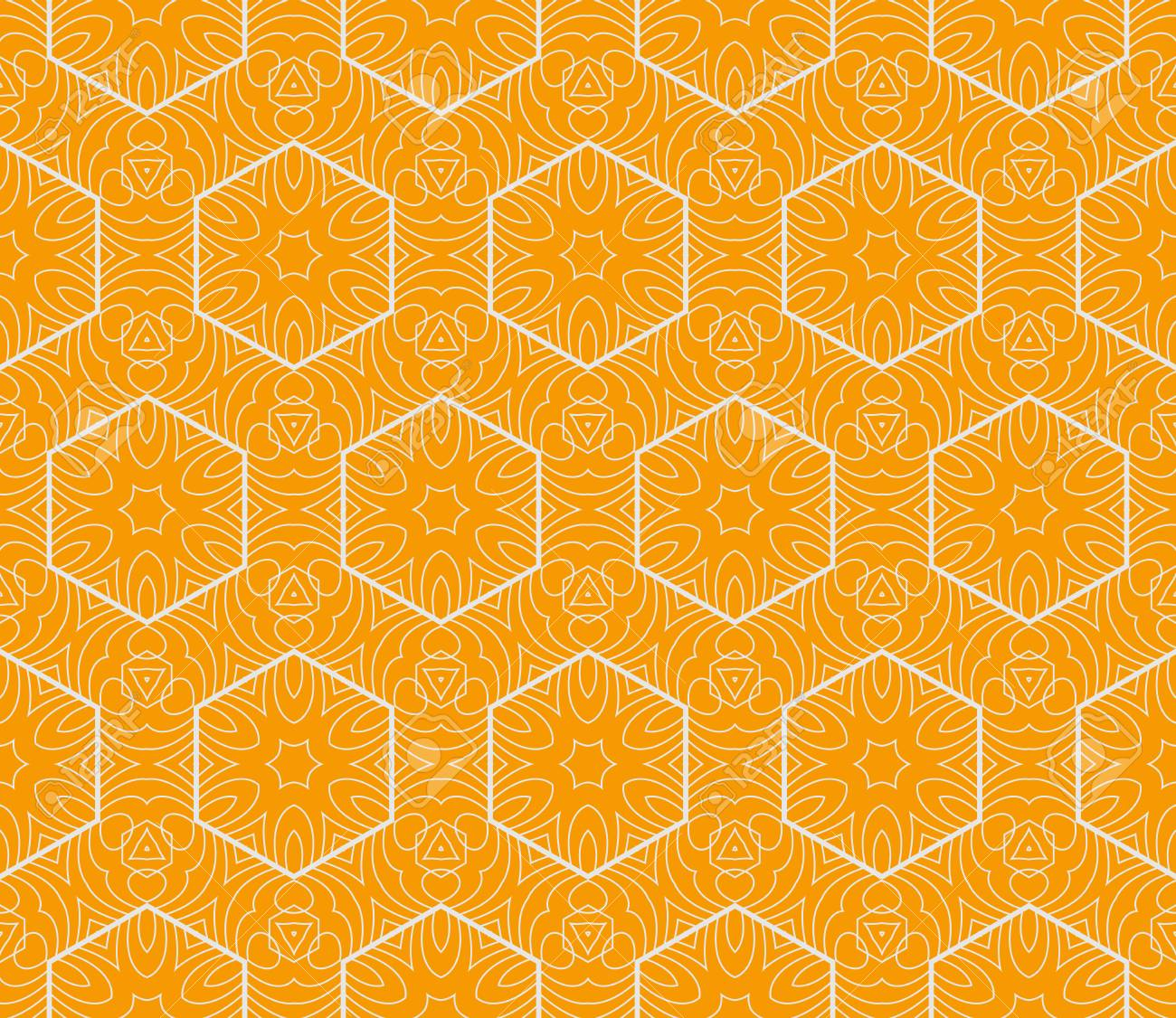 98250826 vector geometric seamless pattern floral style orange color for printing on fabric paper for scrapbo