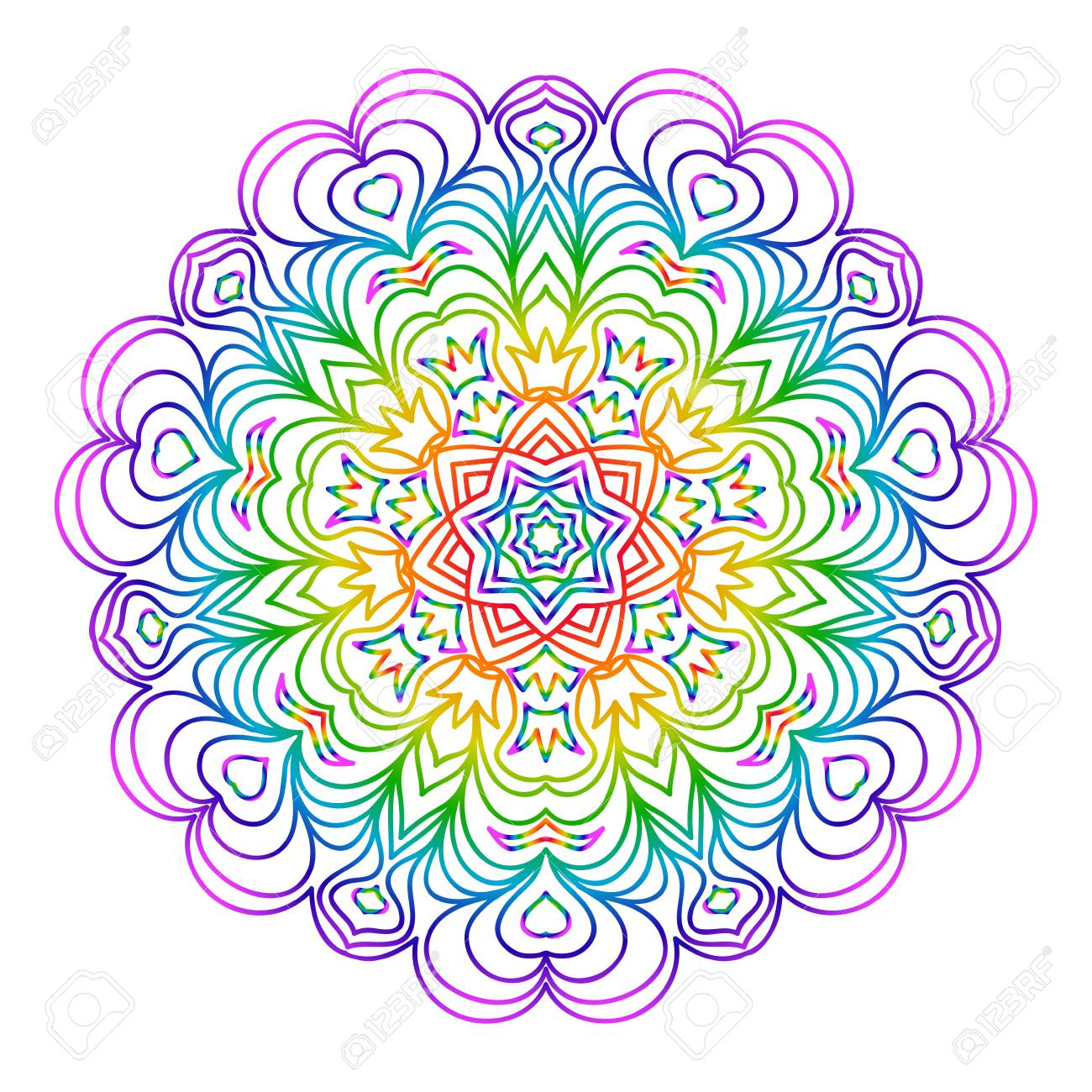 mandala for relaxation rainbow color illustration of rosette