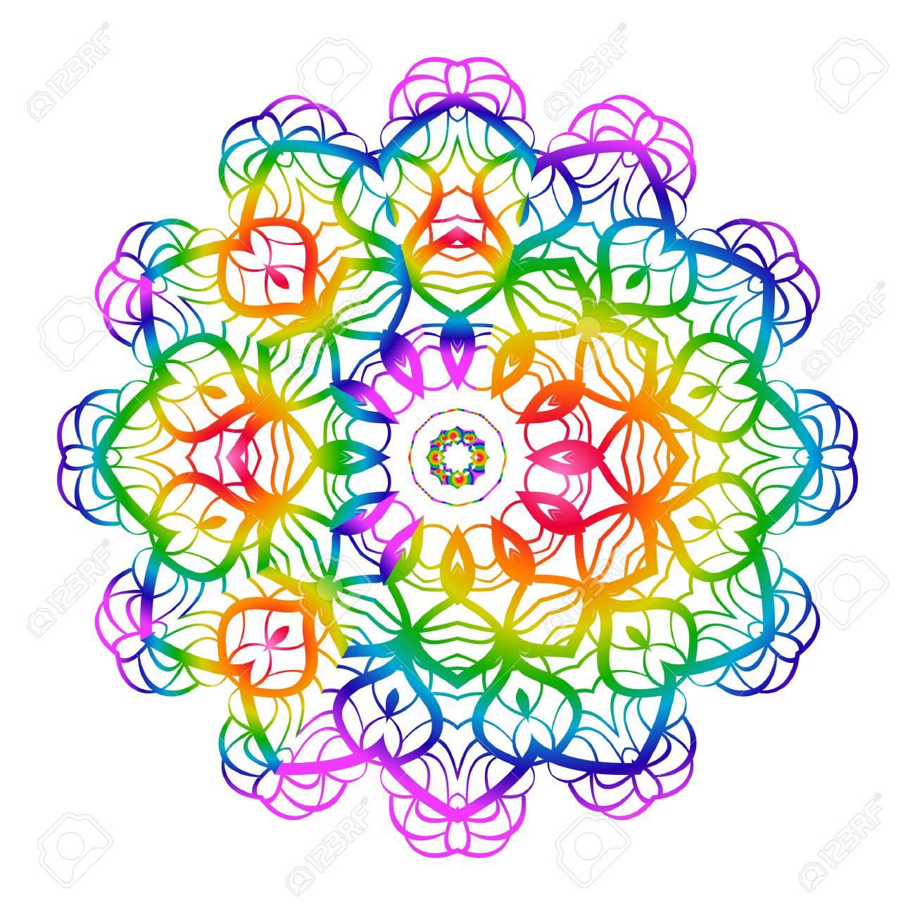 37b75efec1e5b Rainbow color Hand-Drawn Henna Ethnic Mandala. Circle lace ornament. Vector  illustration.