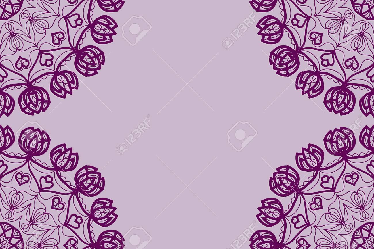 Wedding Invitation Card With Mandala Background Purple Color