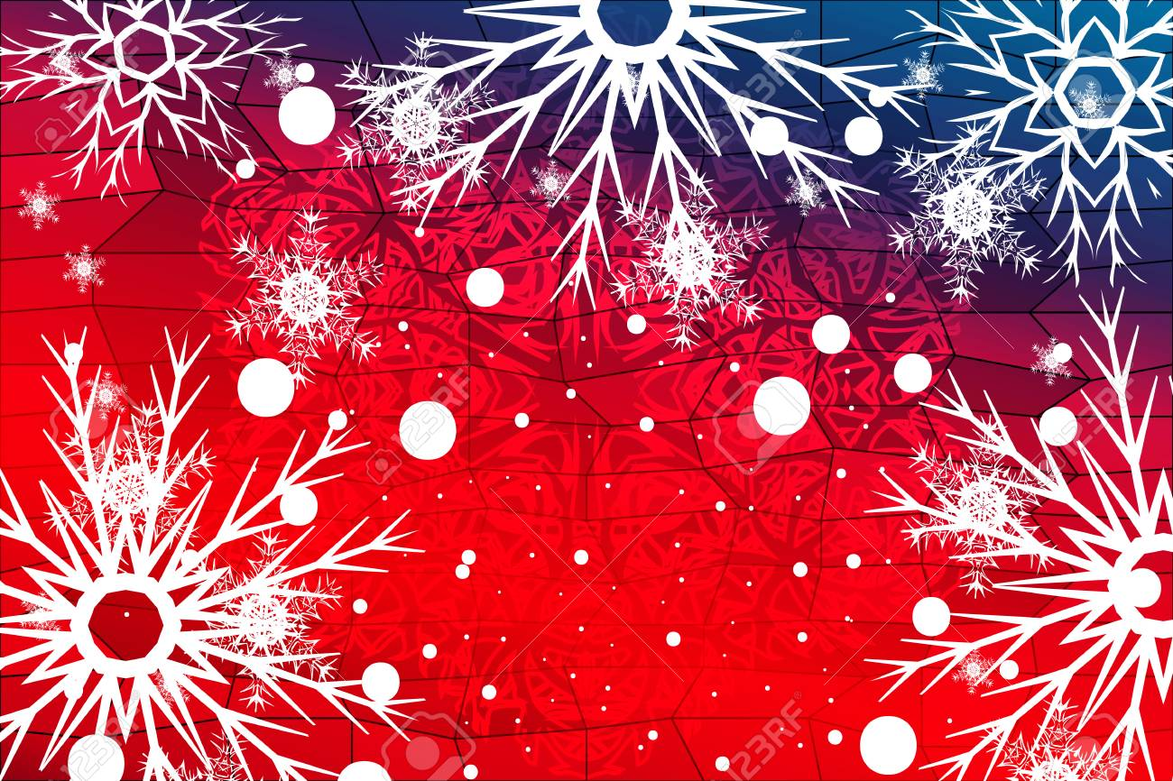Red Christmas Background.Blue Red Christmas Background With Snowflakes Christmas Vector