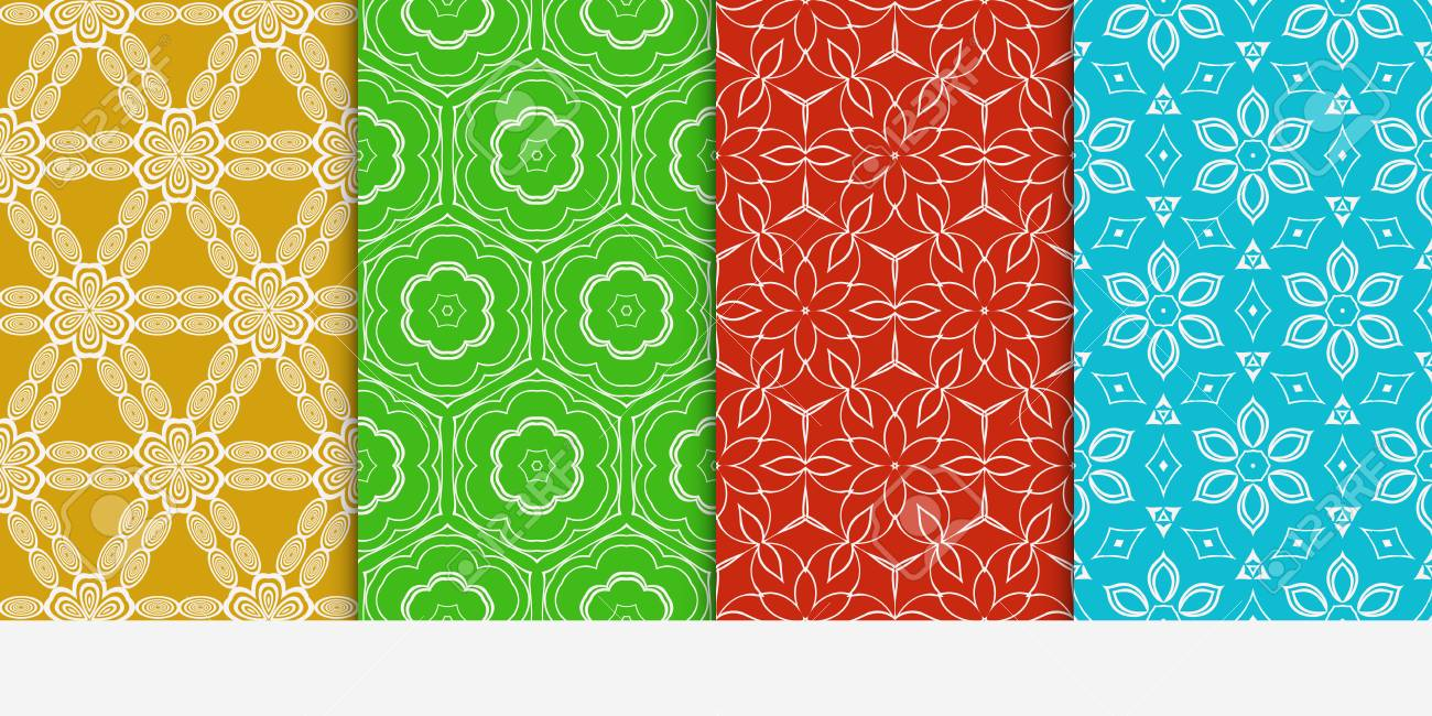 Set Of Seamless Floral Color Pattern. Ethnic Ornament Flower ...