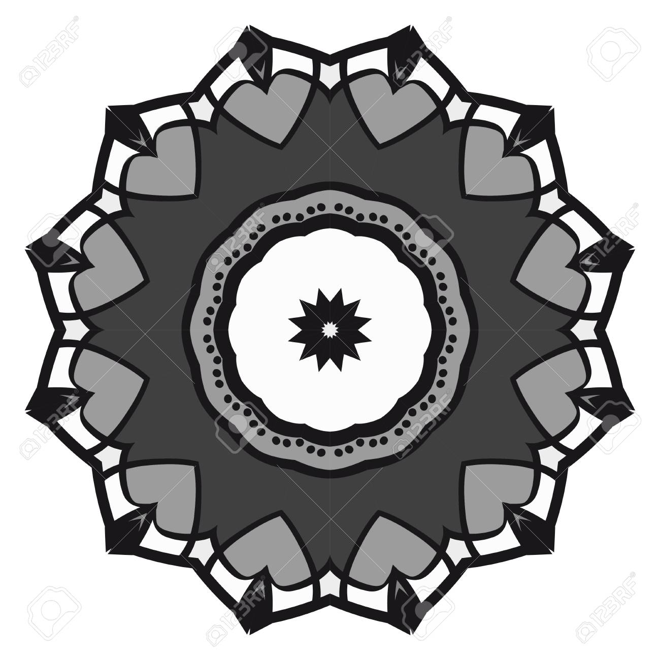 Floral Geometric Pattern with hand-drawing Mandala  Vector super