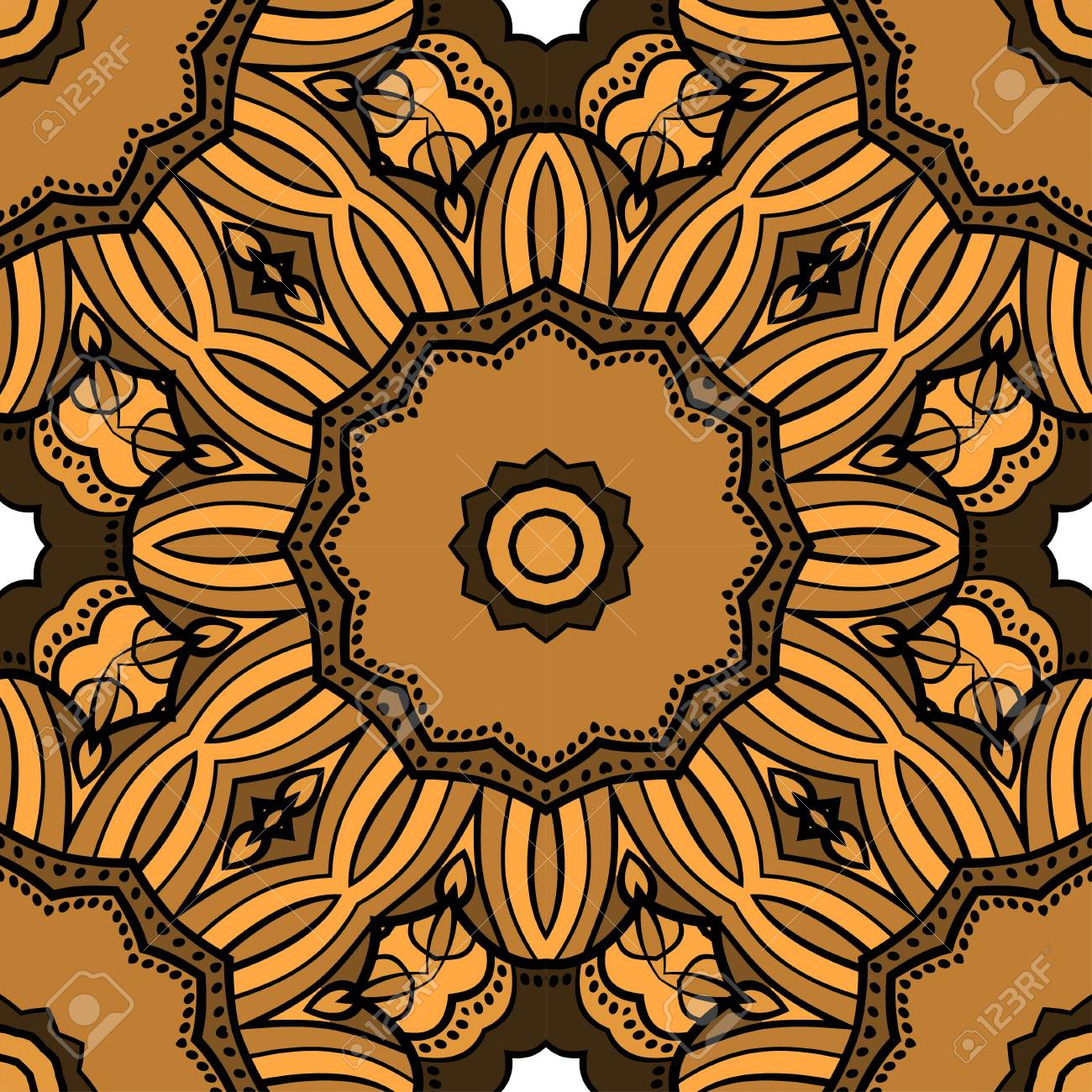 Seamless Art Deco Floral Pattern With Modern Style Ornament On