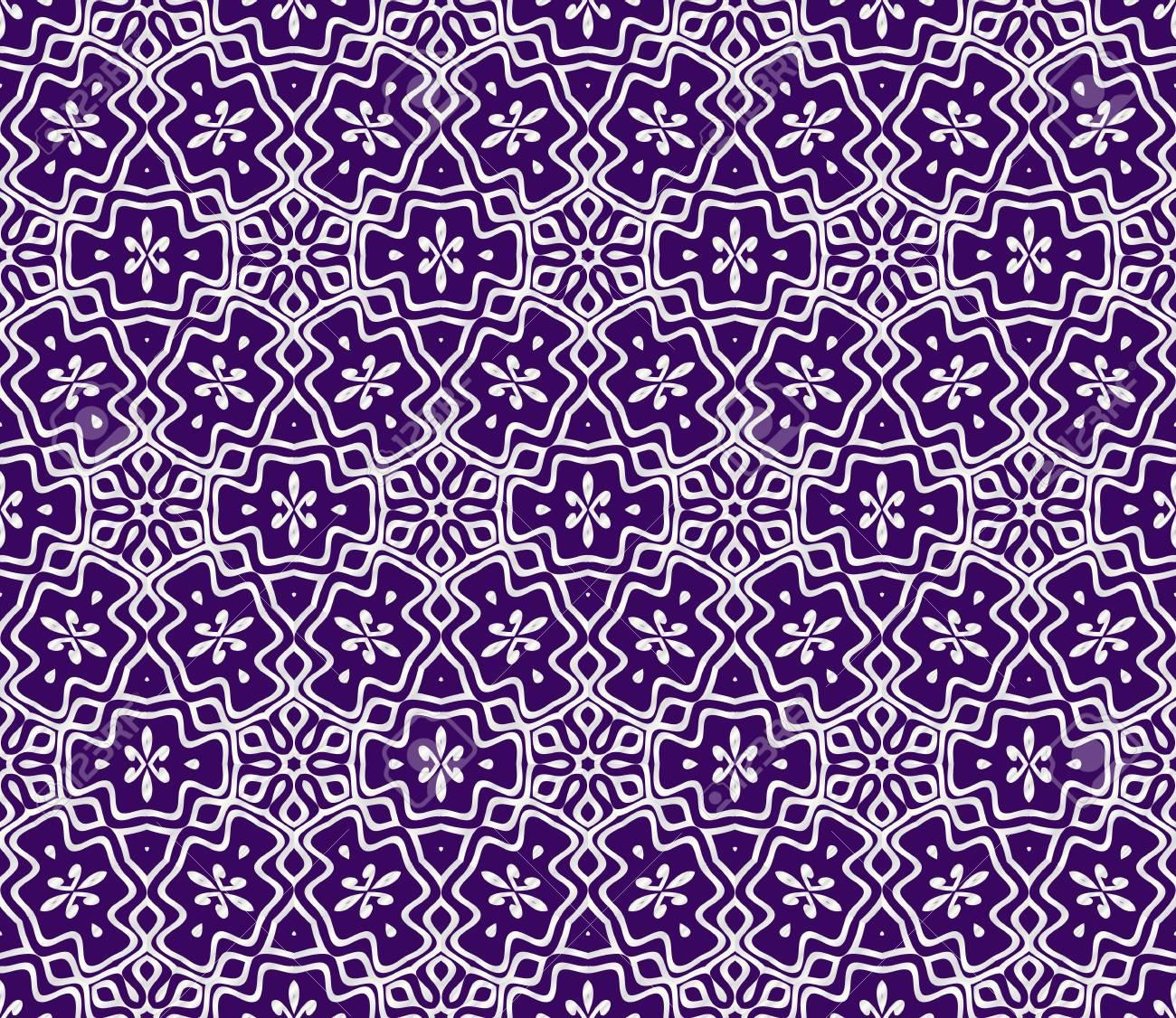 geometric ornament. seamless art-deco pattern. Color vector illustration. for design, wallpaper, invitation. Purple, silver color - 111794856