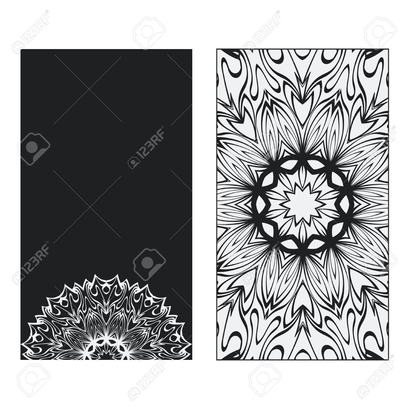 Two Yoga Card Flyer Poster Template With Mandala For Spiritual Royalty Free Cliparts Vectors And Stock Illustration Image 116046895